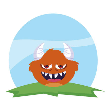 funny monster with horns in the field vector illustration design