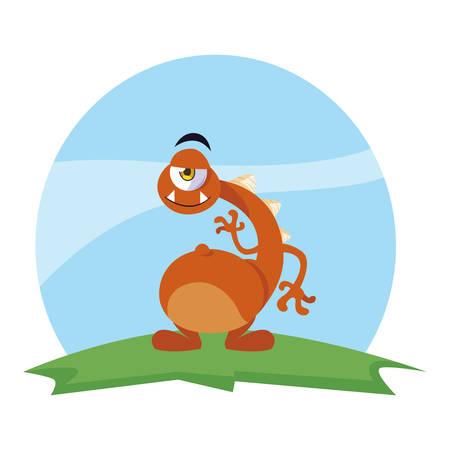 funny monster with neck long in the field vector illustration design Illusztráció