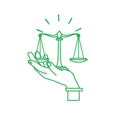 Hand mit Gerechtigkeit Balance Symbol isoliert Symbol Vektor Illustration Design