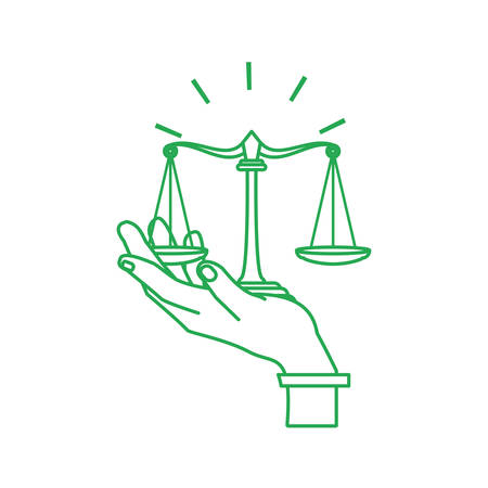 hand with justice balance symbol isolated icon vector illustration design