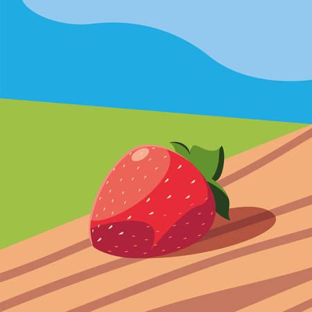 fresh strawberry fruit in wooden table and landscape vector illustration design