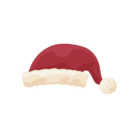 cute red santa claus hat on white background vector illustration design Stock Illustratie