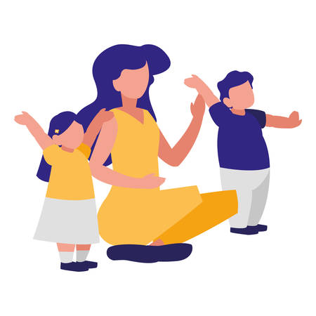 Happy family with kids over landscape, colorful design. vector illustration