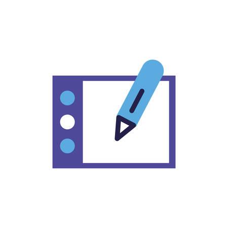 tablet with pencil on white background vector illustration design Illustration