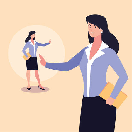 cute businesswoman with various views, poses and gestures vector illustration design Archivio Fotografico - 133769288