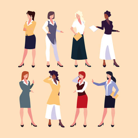 set of businesswomen with various views, poses and gestures vector illustration design Archivio Fotografico - 133769317