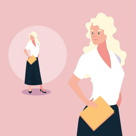 cute businesswoman with various views, poses and gestures vector illustration design Archivio Fotografico - 133769325