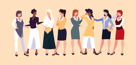 set of businesswomen with various views, poses and gestures vector illustration design Archivio Fotografico - 133769330