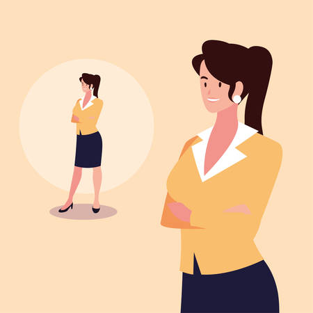 cute businesswoman with various views, poses and gestures vector illustration design Archivio Fotografico - 133769334
