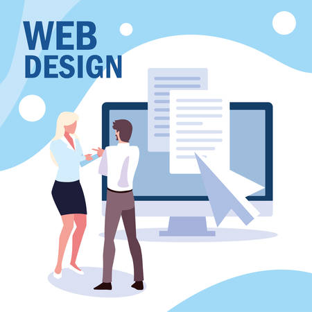 couple of people business in meeting on global planning and marketing research, web design vector illustration design Illustration