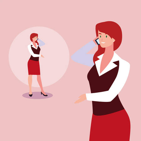 cute businesswoman with various views, poses and gestures vector illustration design Archivio Fotografico - 133769352
