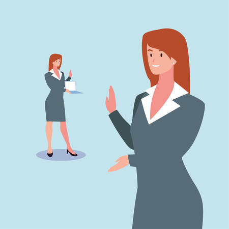 cute businesswoman with various views, poses and gestures vector illustration design Archivio Fotografico - 133769355