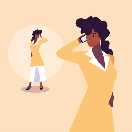cute businesswoman with various views, poses and gestures vector illustration design Archivio Fotografico - 133769372