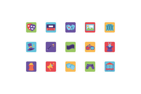 set of icons of entertainment on white background vector illustration design