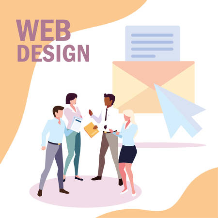 group of people business in meeting on global planning and marketing research, web design vector illustration design Illustration