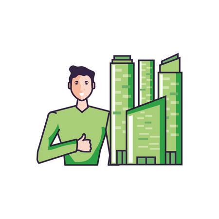 young man attractive with buildings facade vector illustration design