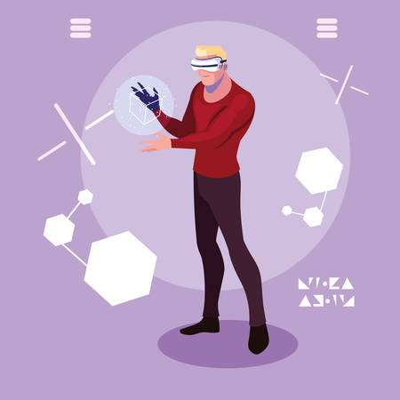 Man and device design, Augmented reality virtual technology device and modern theme Vector illustration