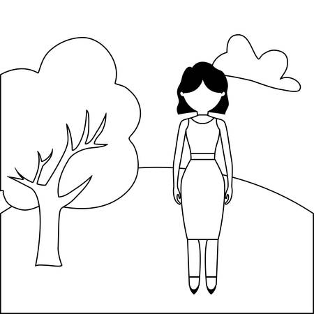 young woman beauty in landscape nature vector illustration design