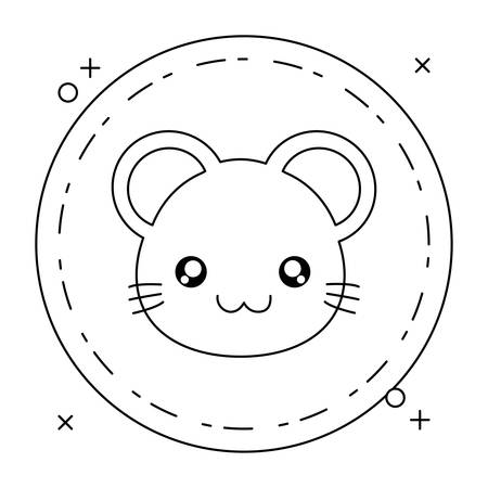 cute little mouse baby in frame circular vector illustration design