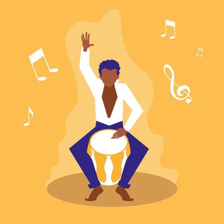 Hombre tocando el tambor bongo artistas, diseño de ilustraciones vectoriales Ilustración de vector
