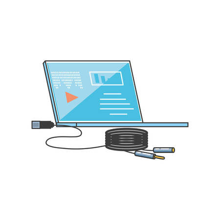 laptop computer with media player and audio wire plug vector illustration design Ilustracja