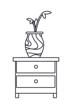 bedside table with flowers on white background vector illustration