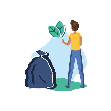 Avatar man with trash design, Garbage recycle ecology eco save and environment theme Vector illustration