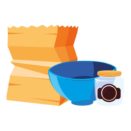 bowl jar and paper bag design, Kitchen supply domestic household tool cooking and restaurant theme Vector illustration
