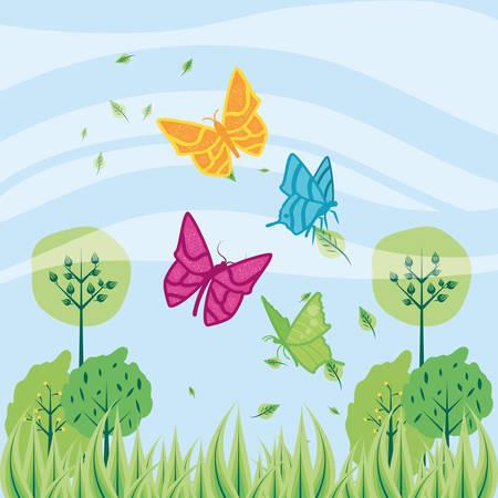 flying butterflies with trees plants and landscape vector illustration design Illusztráció