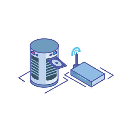 server equipment with wireless router on white background vector illustration design