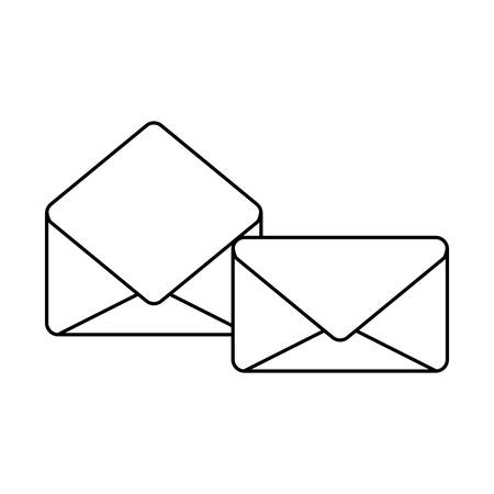 envelopes mail open and closed isolated icon vector illustration design