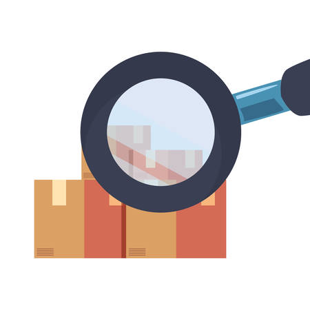 cardboard boxes magnifiying glass icon vector illustration 일러스트
