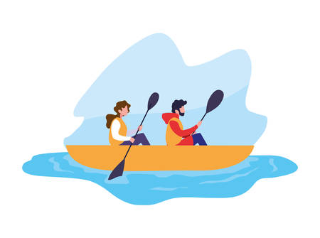 young couple in canoe sport extreme vector illustration design Ilustracja