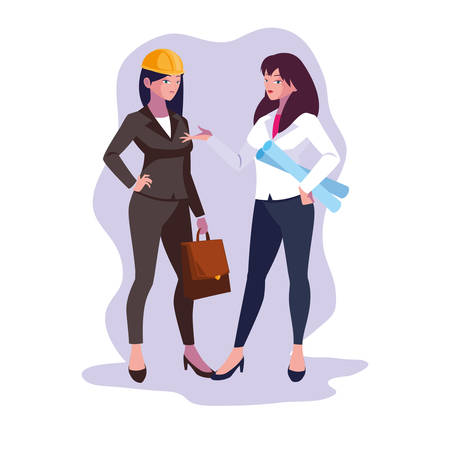 Women engineer design, Worker profession industry construction technology and occupation theme Vector illustration Vectores