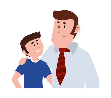 father with his son smiling avatar character vector illustration design