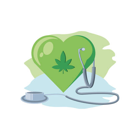 heart with cannabis leaf with stethoscope vector illustration design