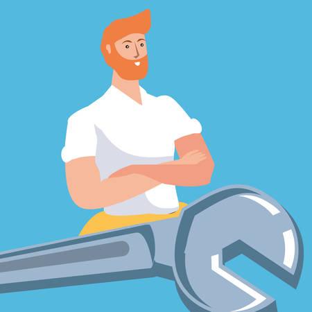 Bauarbeiter Bauarbeiter mit Schraubenschlüssel-Schlüssel-Vektor-Illustration-Design