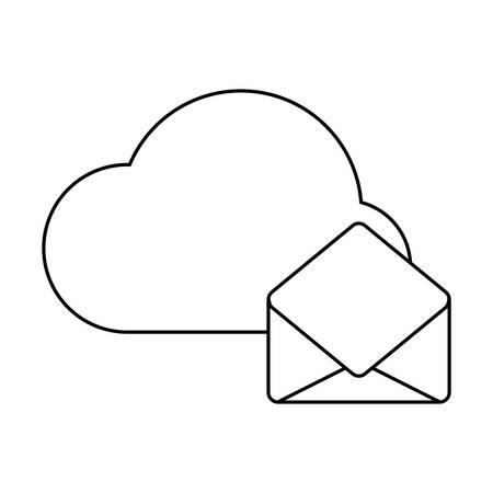 envelope mail with cloud computing vector illustration design