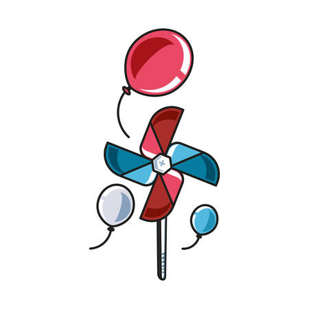 fan windmill toy with balloons helium vector illustration design Çizim
