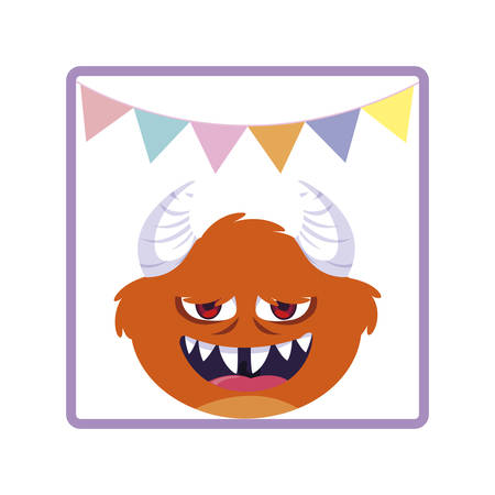 square frame with monster and horns party garlands vector illustration design