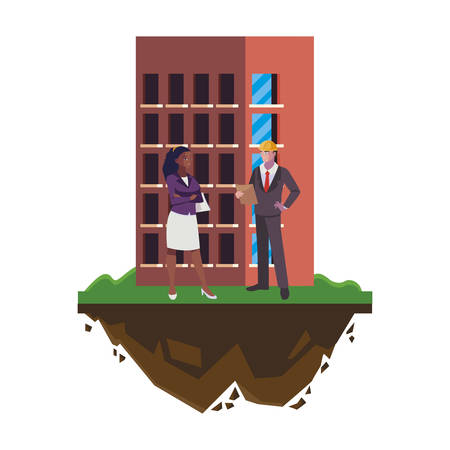 couple of engineers builders with building vector illustration design