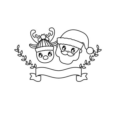 head of santa claus and reindeer on white background vector illustration design