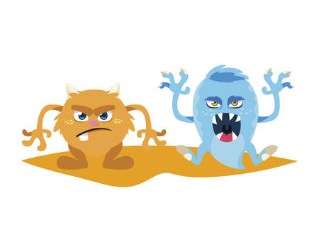 funny monsters couple comic characters colorful vector illustration design