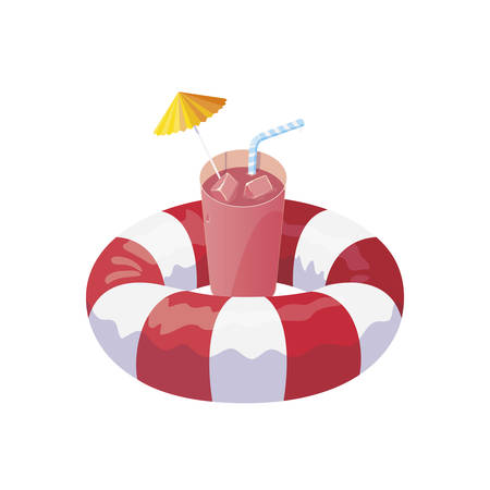 float life guard and summer cocktail vector illustration design
