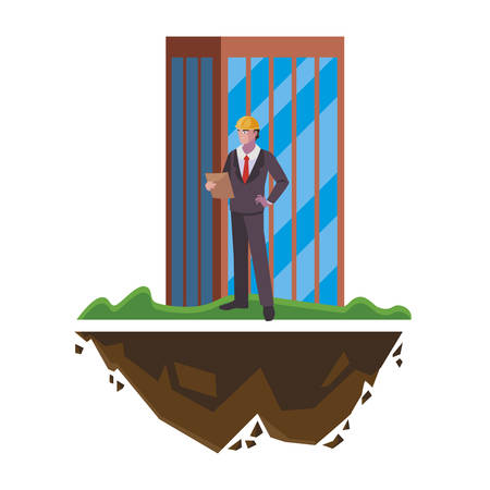 engineer builder worker with building vector illustration design Ilustracja