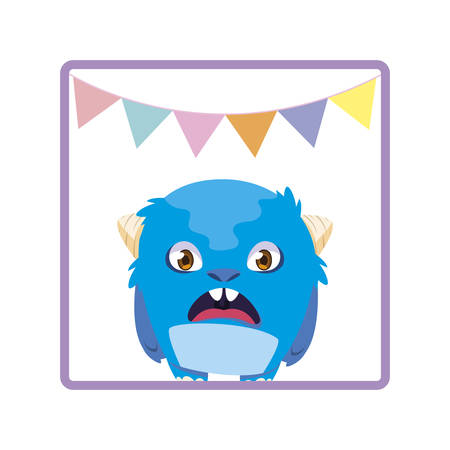 square frame with monster and garlands party vector illustration design