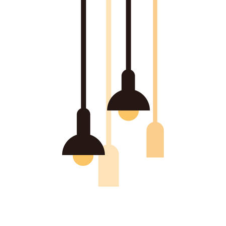 lamps of interior hanging on white background vector illustration design 일러스트