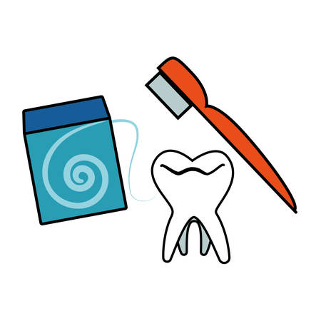 tooth human with brush and floss vector illustration design