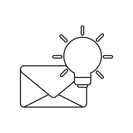 envelope mail with light bulb vector illustration design