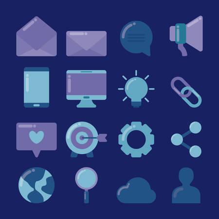 set icons of social media vector illustration design Illustration